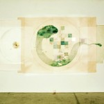Site Plan for Water Series. Mixed Media on Paper, 400x169cm