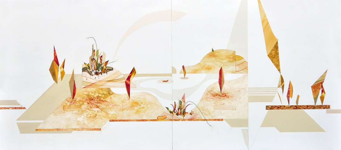 Things which can be seen only if you should stop: Viewing Platform. (2013) Oil and pencil on canvas, 240x109cm