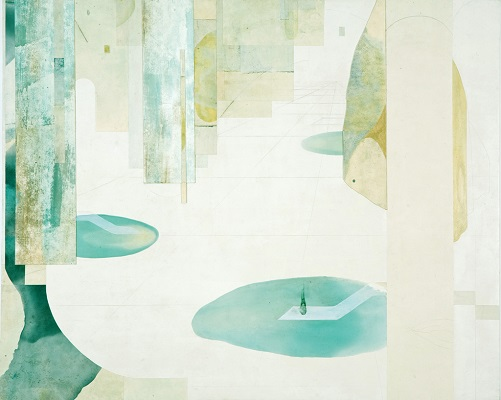 Water Series: Painting Part 3. Oil and collage on Paper, 127x103cm