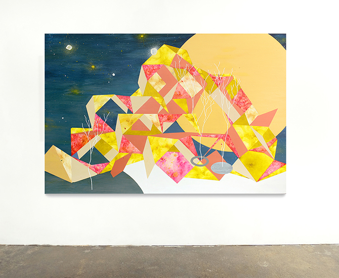 """Cuboctahedron Viewing Platform (2017) Oil and Acrylic on Canvas. 64"""" X 44"""""""